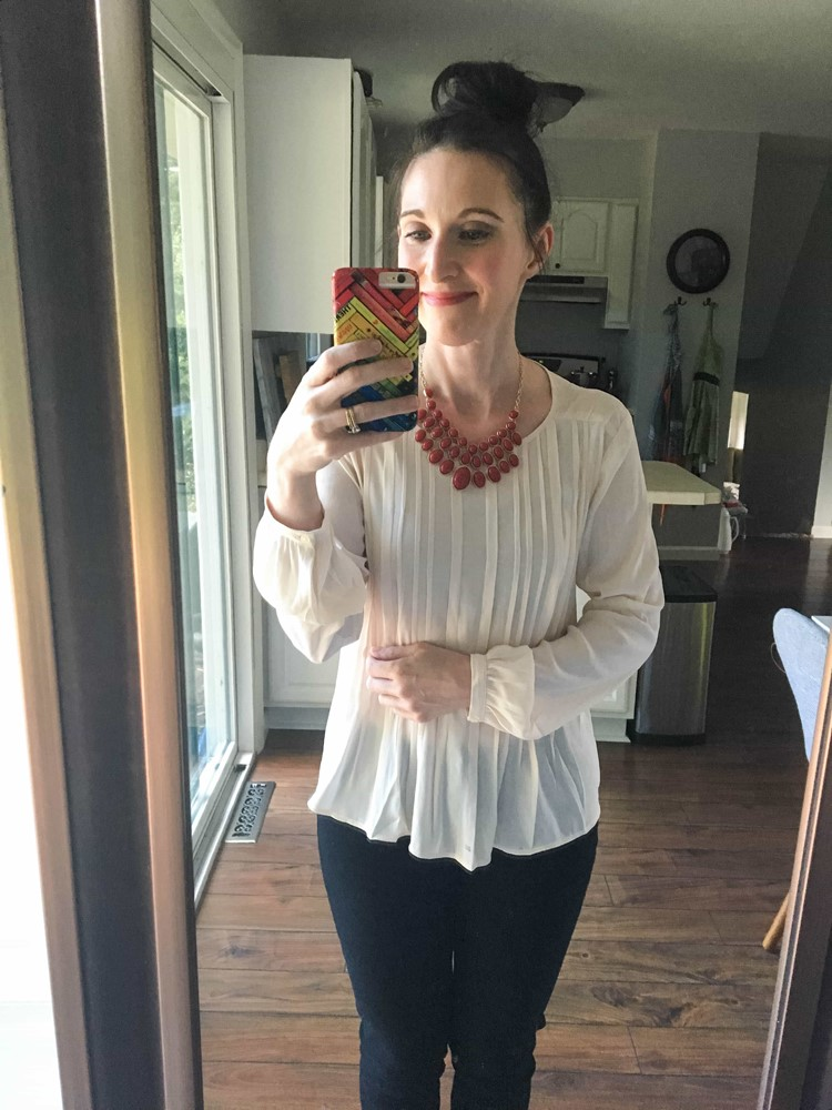 Pink Pintuck Shirt + Burgundy Necklace + Black Jeans