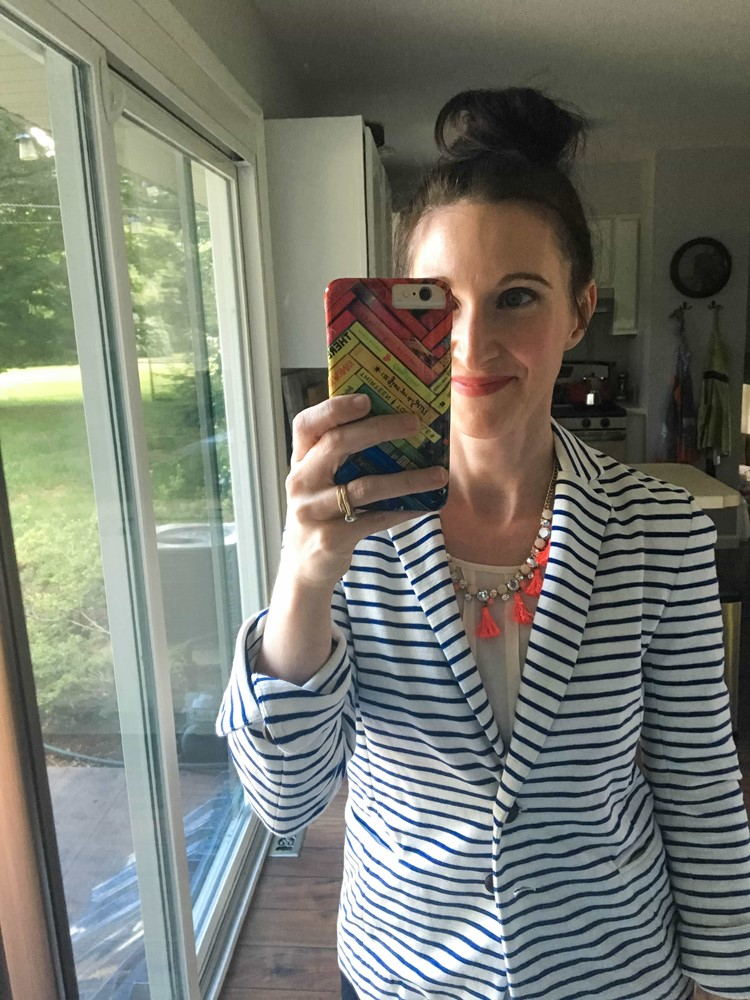 Striped Jacket, Pintuck Shirt, Tassel Necklace in Flourescents
