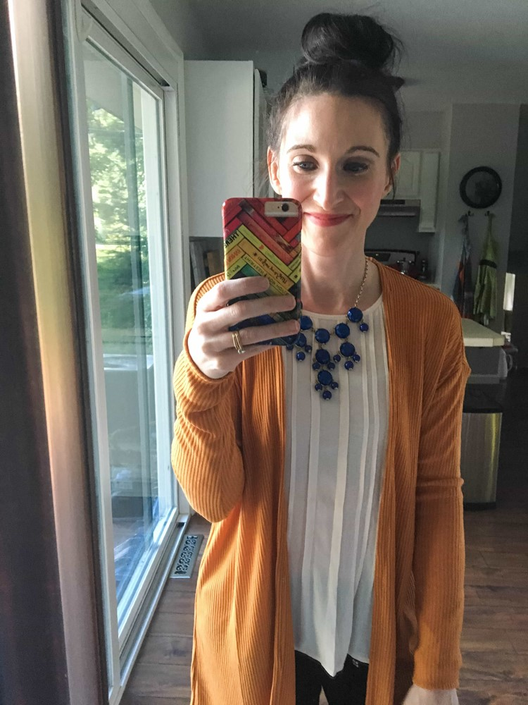 Pink Shirt, Mustard Sweater, and Royal Blue Necklace