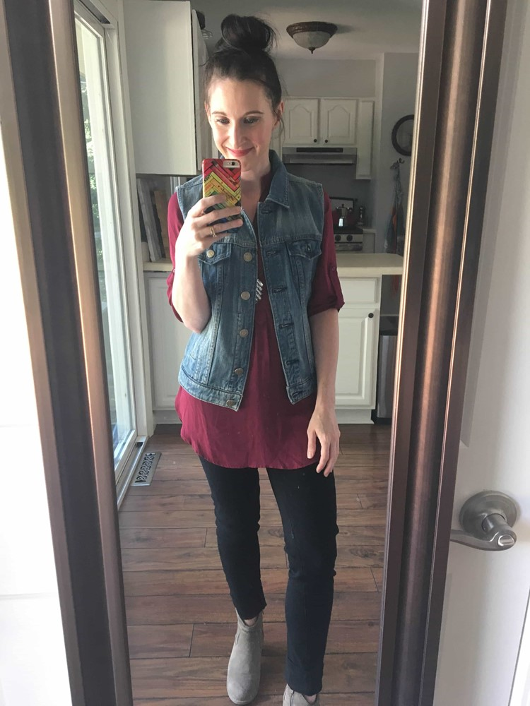 Burgundy Top, Jean Vest, Black Jeans, Suede Booties