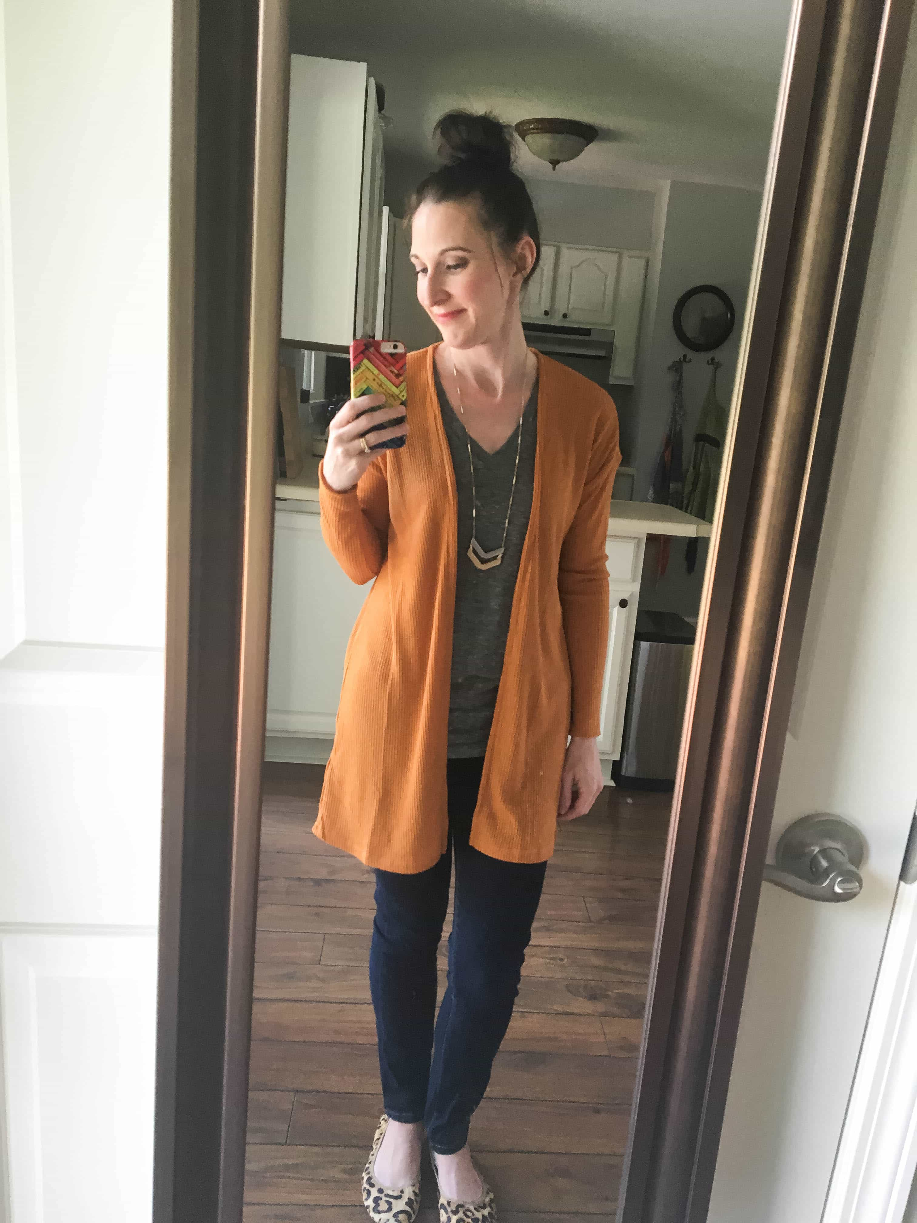 Mustard Cardigan, Chevron Necklace, Gray Tee, & Leopard Print Shoes