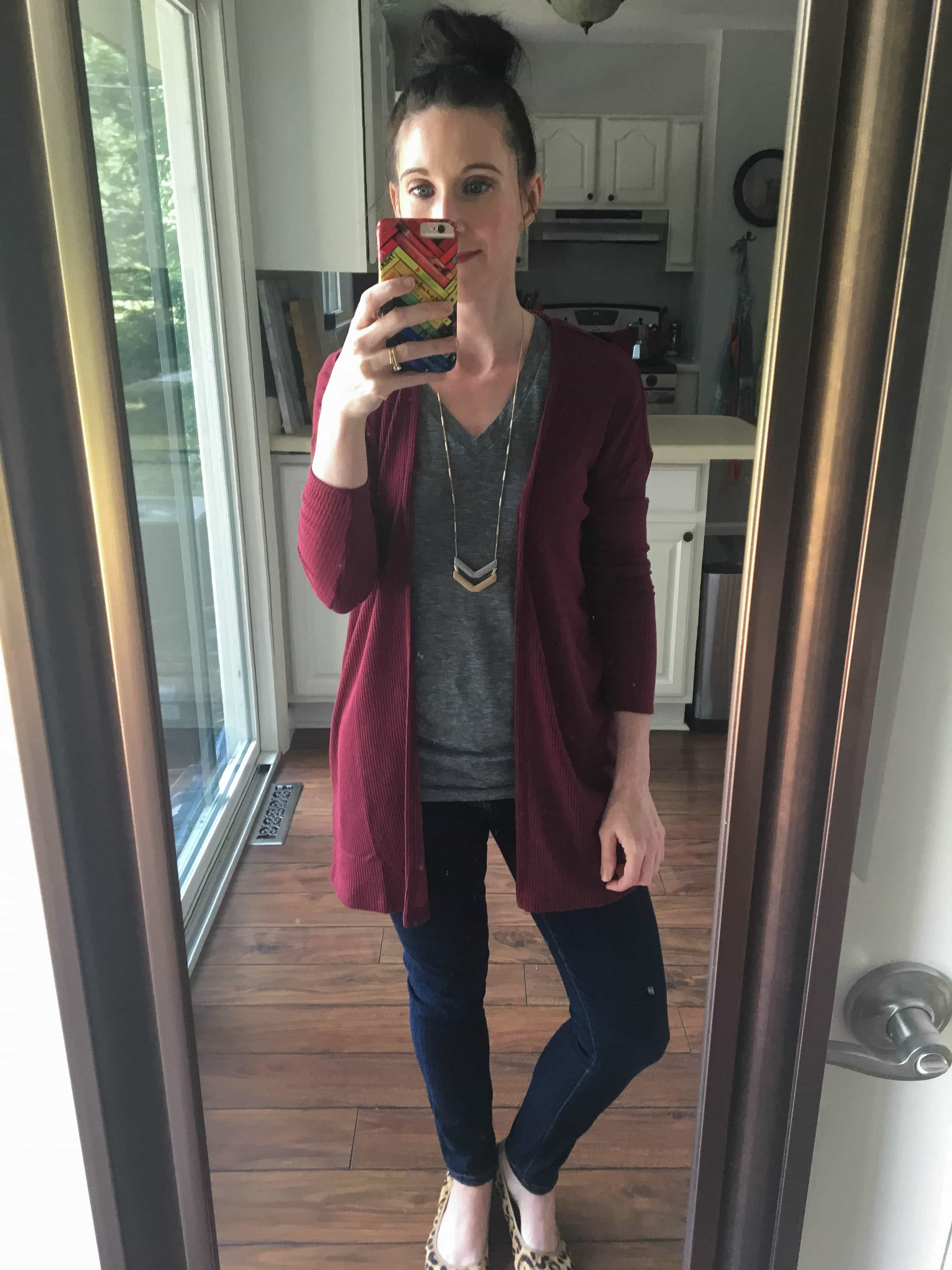 Burgundy Cardigan, Gray T-Shirt, Chevron Necklace, & Leopard Print Shoes