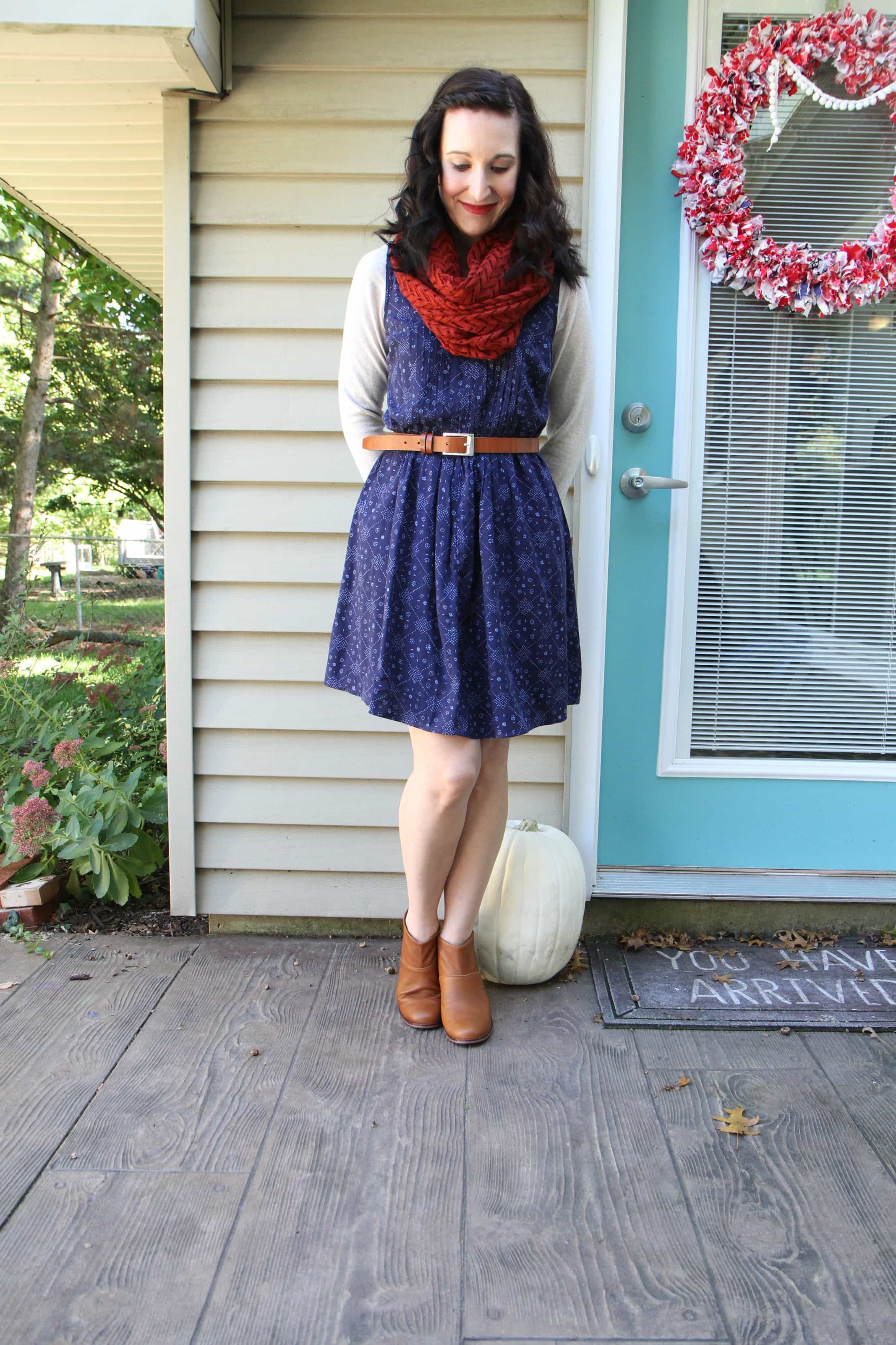 Pintuck dress + Fleece top + infinity scarf + belt + booties