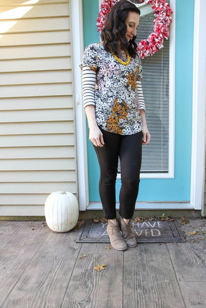 floral + stripes + mustard + nude booties
