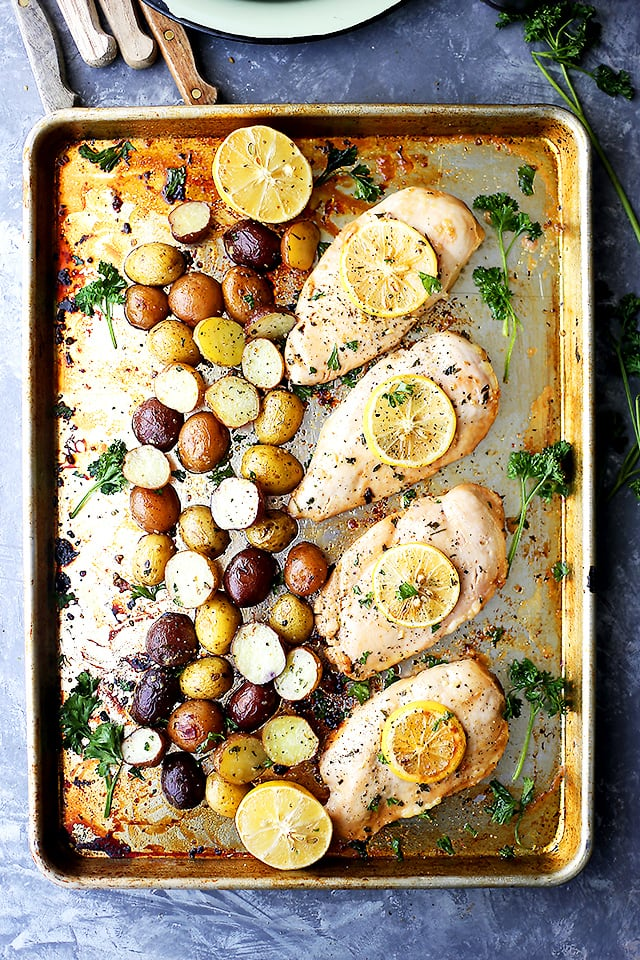 one-sheet-pan-honey-garlic-lemon-chicken-with-potatoes