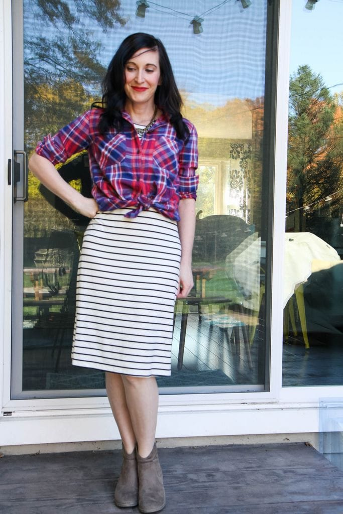 flannel shirt + striped dress + statement necklace + nude booties