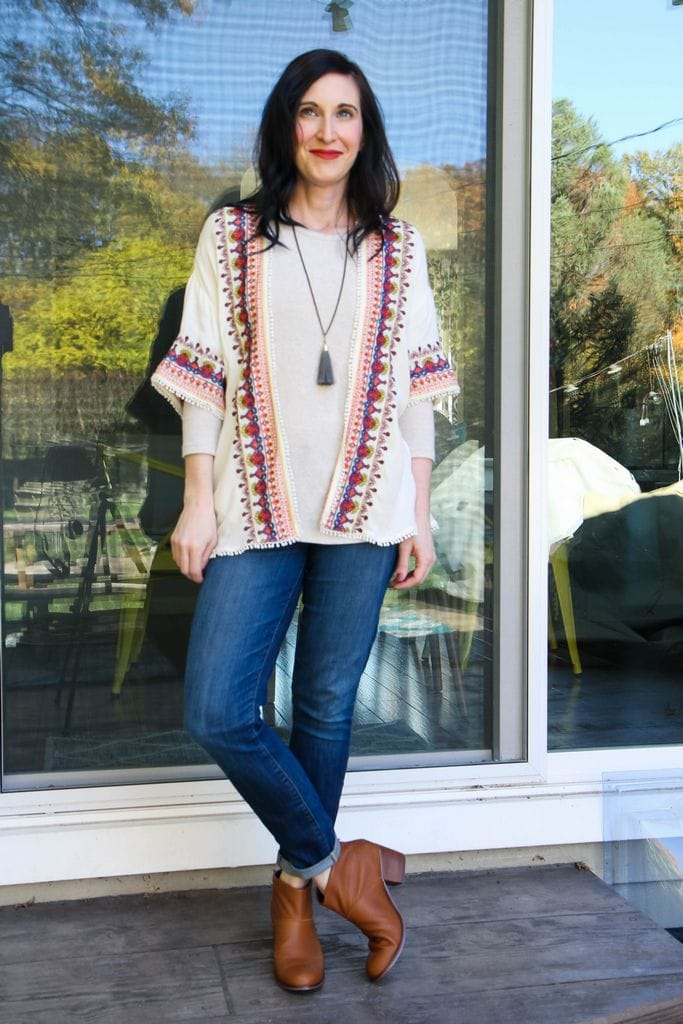 ivory shirt + kimono + tassel necklace + dark denim + tan booties