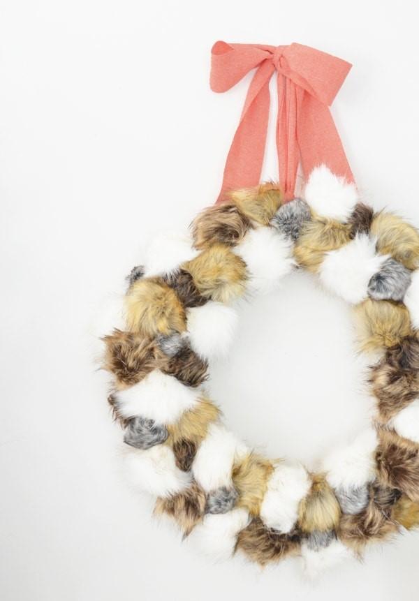 Fur Pom Pom Wreath