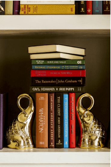 Golden Elephant Bookends