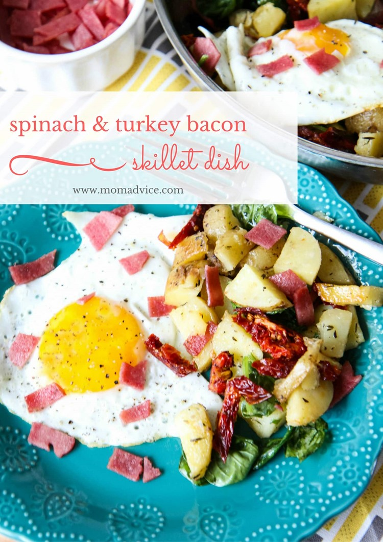 Spinach and Turkey Bacon Skillet Dish from MomAdvice.com