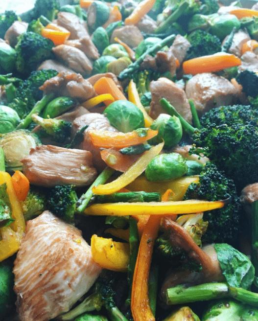 Chicken & Veggie Sheet Pan  Stir Fry