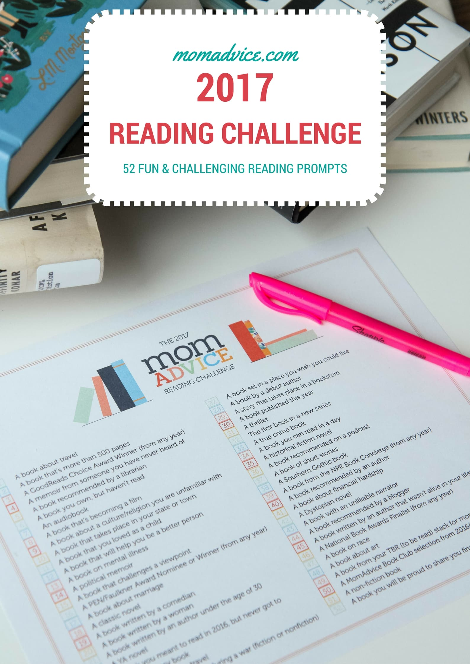 The 2017 MomAdvice Reading Challenge (FREE Printable!!)