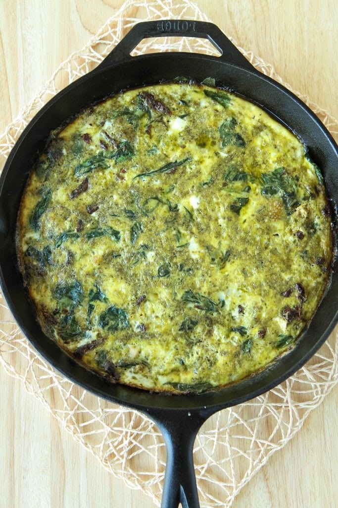 Chicken Pesto Frittata from MomAdvice.com