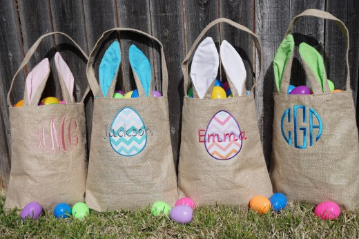 monogrammed easter totes
