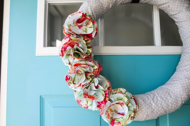 Fabric Flower Wreath for Spring from MomAdvice.com