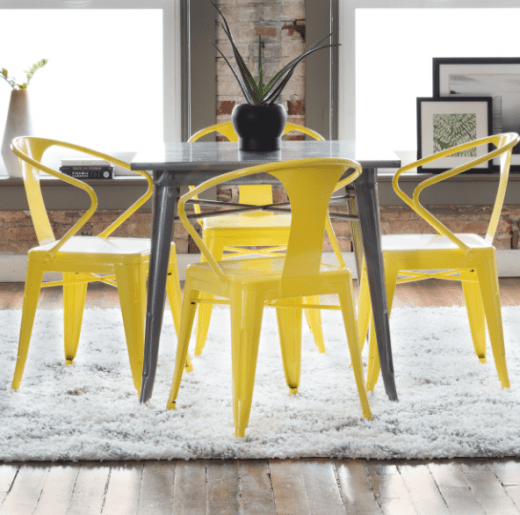 Lemon Metal Stacking Chairs