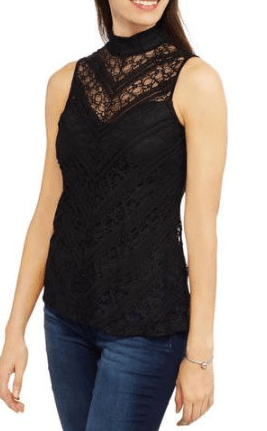 Mock Neck Lace Swing Blouse