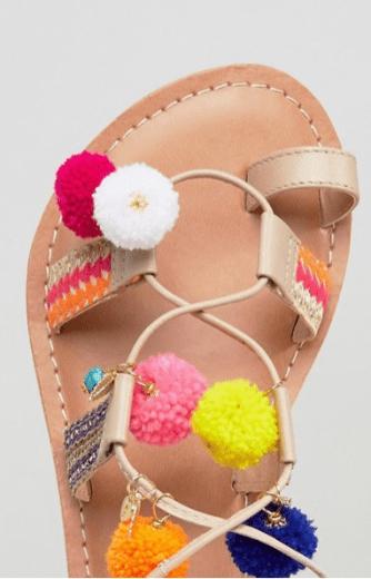 pom-pom lace-up sandals