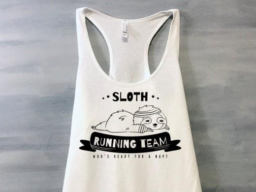 sloth running team shirt