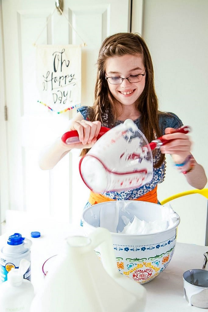 Mixing Fluffy Slime Ingredients Together