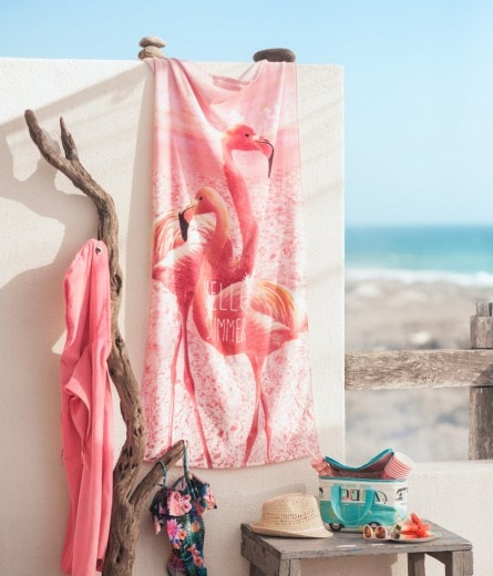 Photo-Print Flamingo Beach Towel
