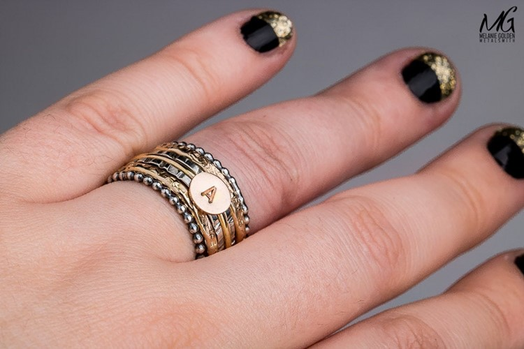 Custom Initial Stackable Ring Set