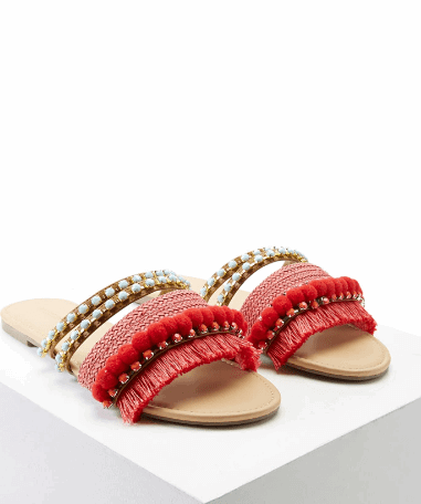 Fringed Pom Pom Sandals