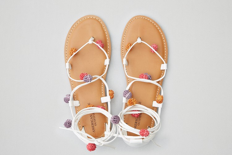 Lace-Up Pom Pom Sandals