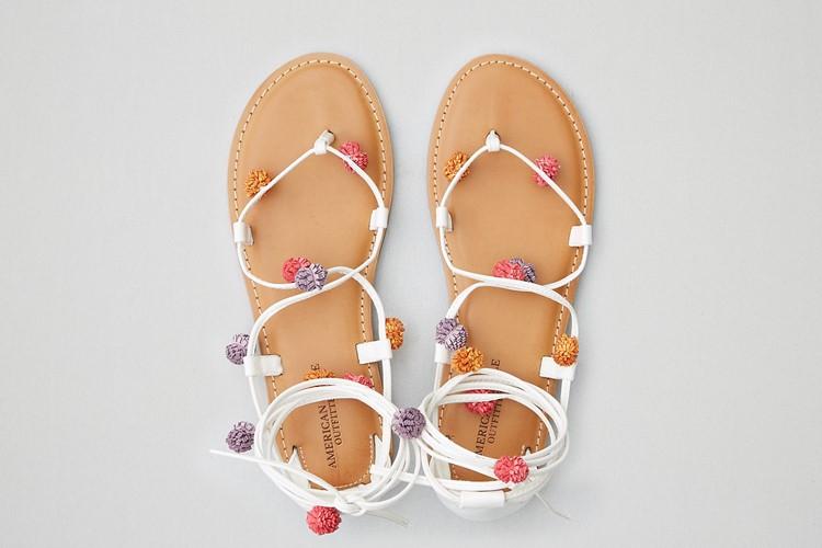 Lace-Up Pom Pom Sandals