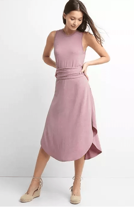 Wrap Belt Midi Dress