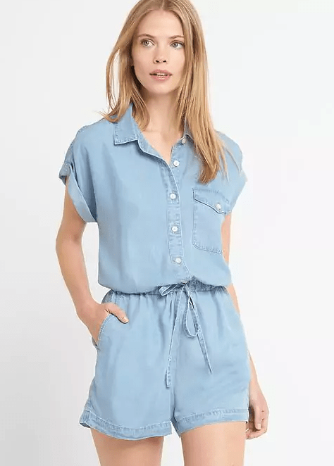 Denim Roll Sleeve Romper