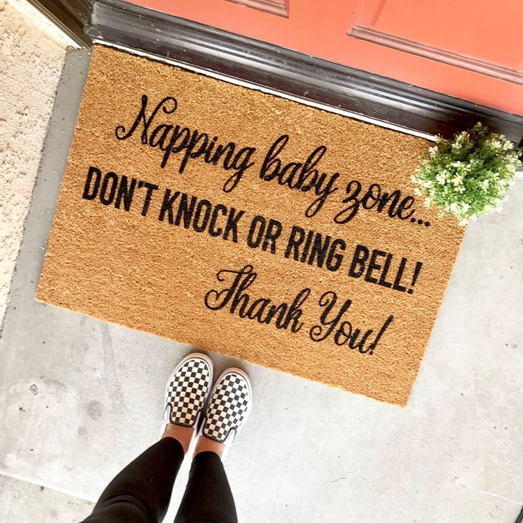 napping baby zone welcome mat