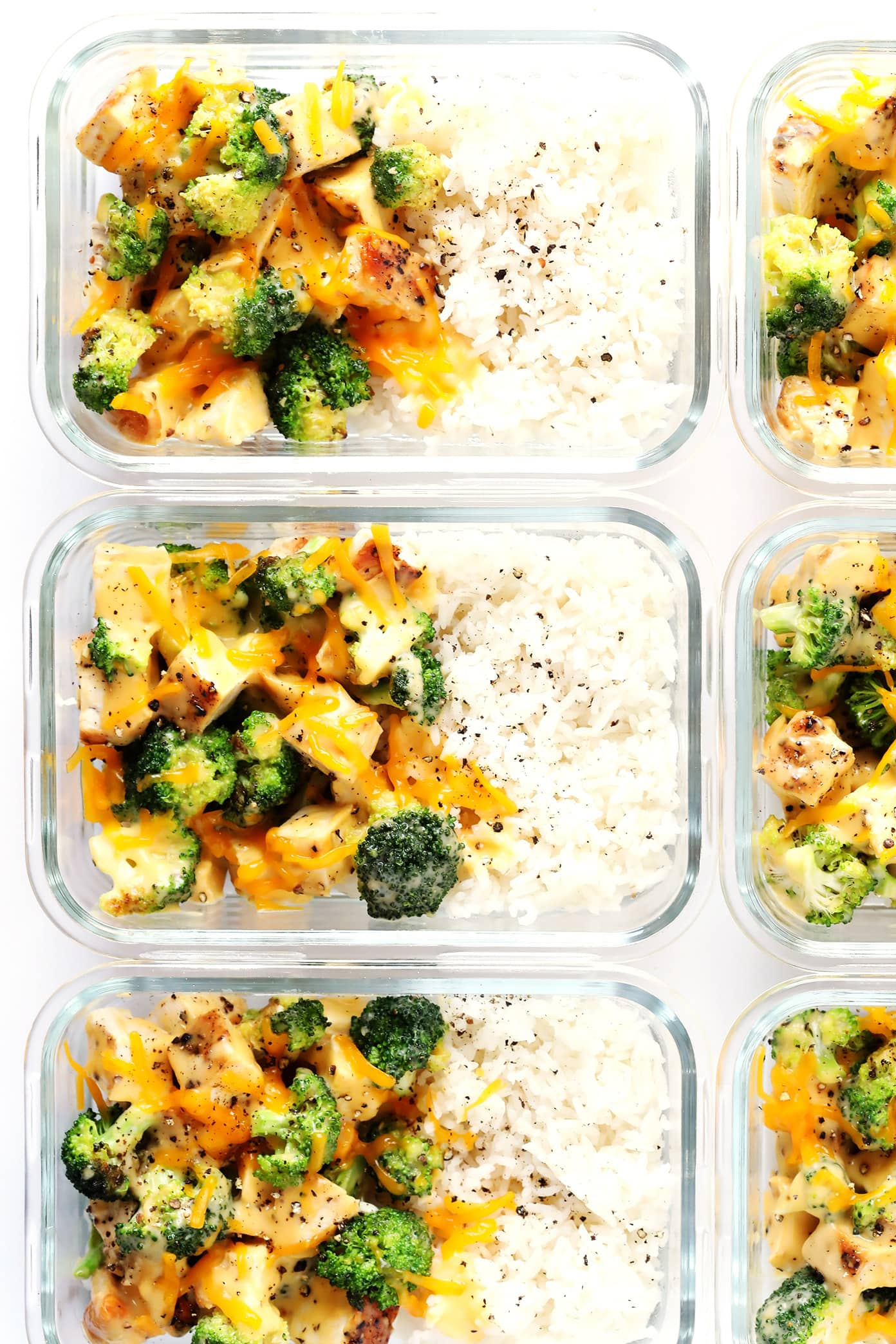 Cheesy Broccoli Cheddar Chicken & Rice Bowls