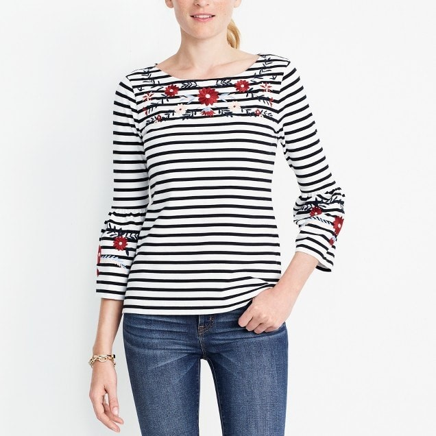 Bell Sleeve Embroidered Tee