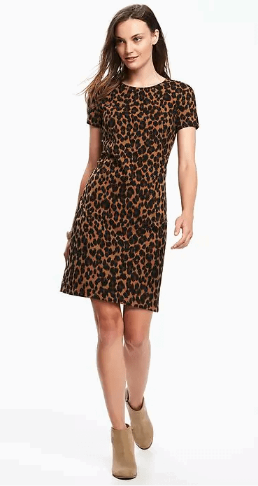 brown leopard dress