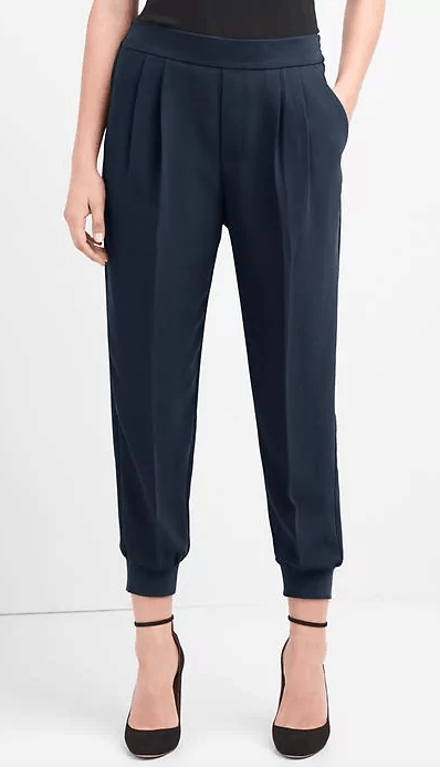 crepe pleated joggers