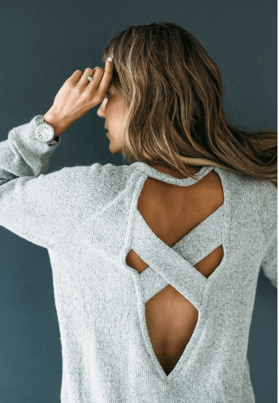 grey cross back sweater
