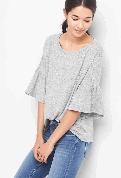 soft bell sleeve top