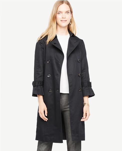 flounce sleeve trench coat