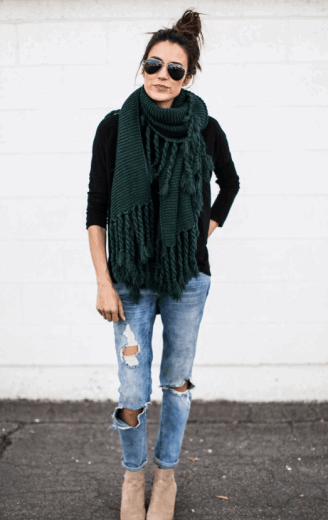 hunter green scarf