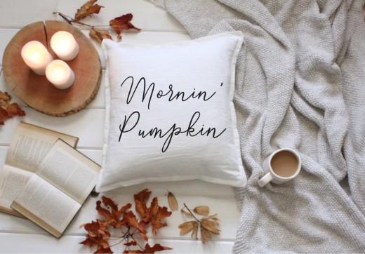 mornin' pumpkin pillow