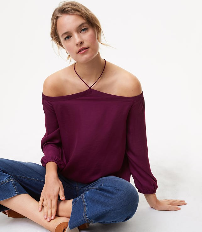 off the shoulder halter shirt