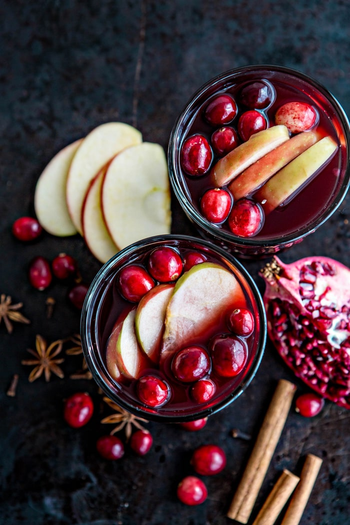 Spiced Pomegranate Apple Cider Mulled Wine Sangria recipe and photo fall cocktail