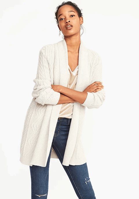 cable knit cardi