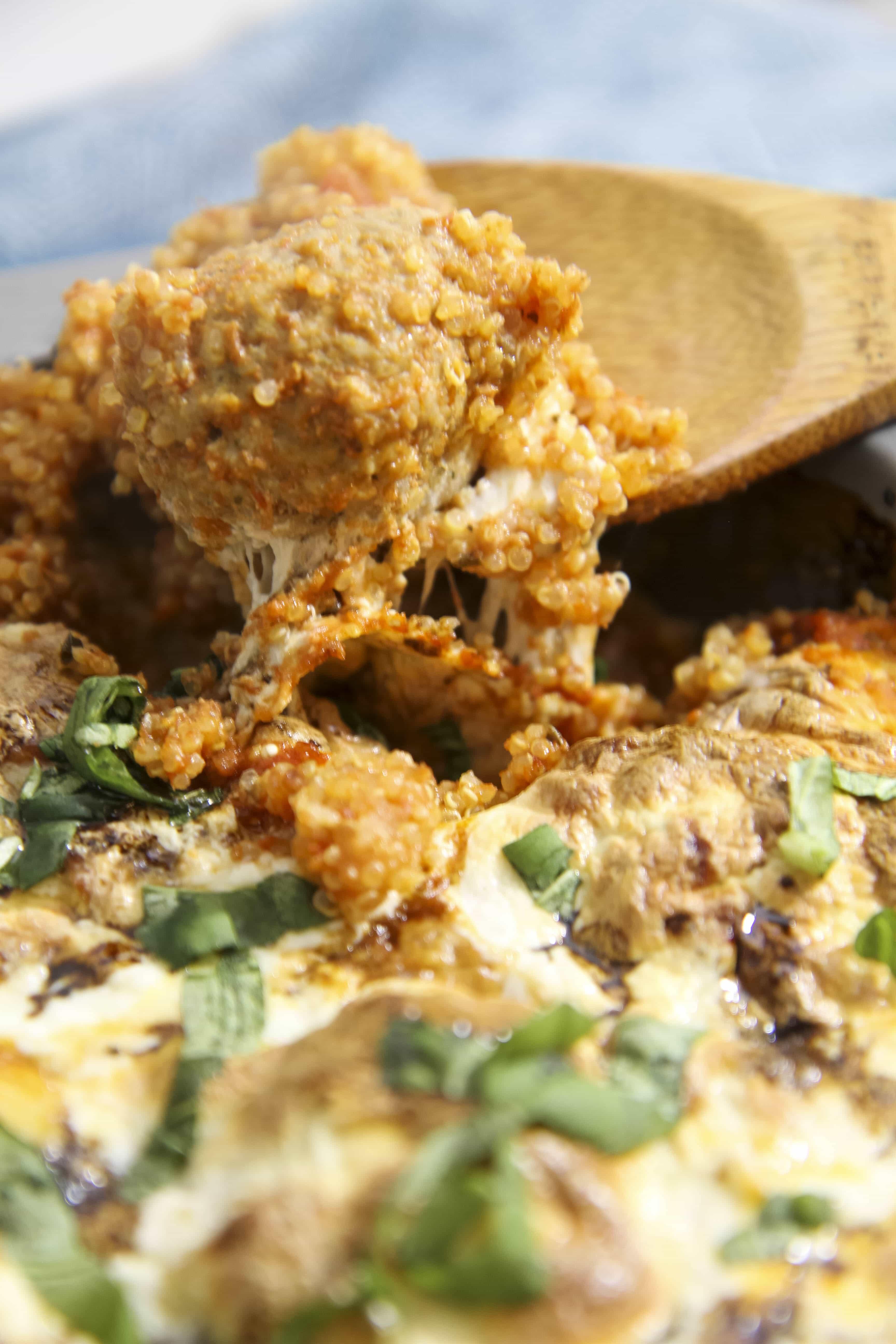 Caprese Quinoa and Meatball Casserole