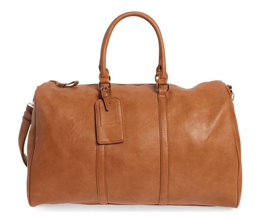 faux leather duffel bag