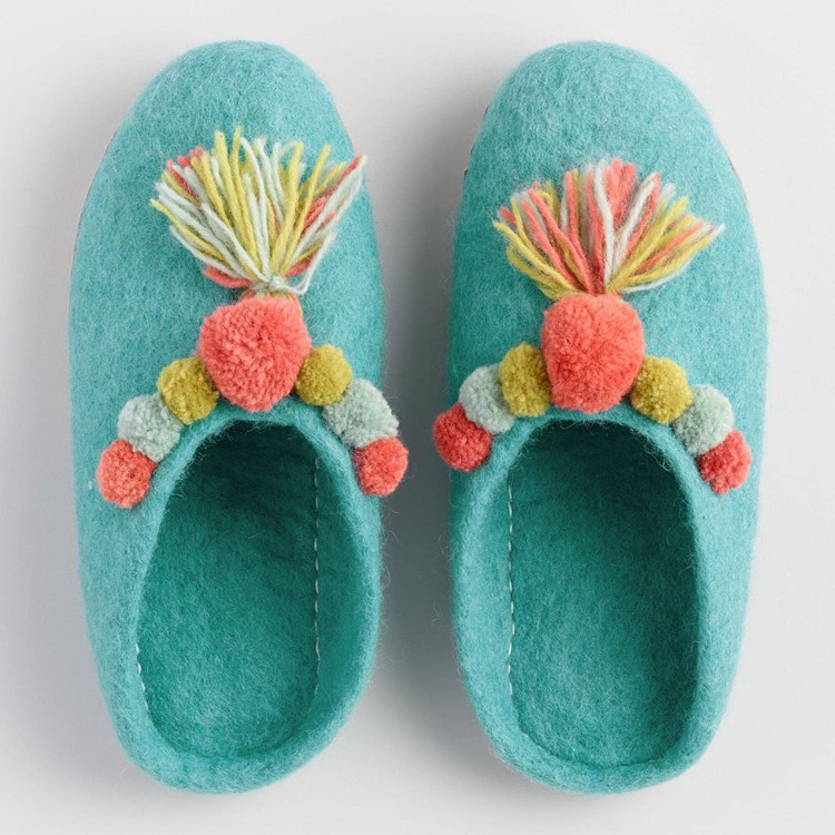 felted pom pom slippers