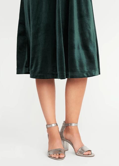 metallic block heels
