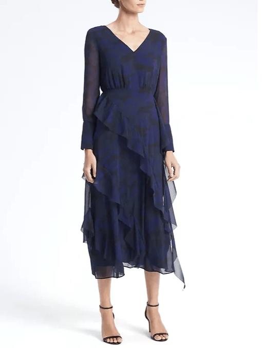 navy camo print midi dress