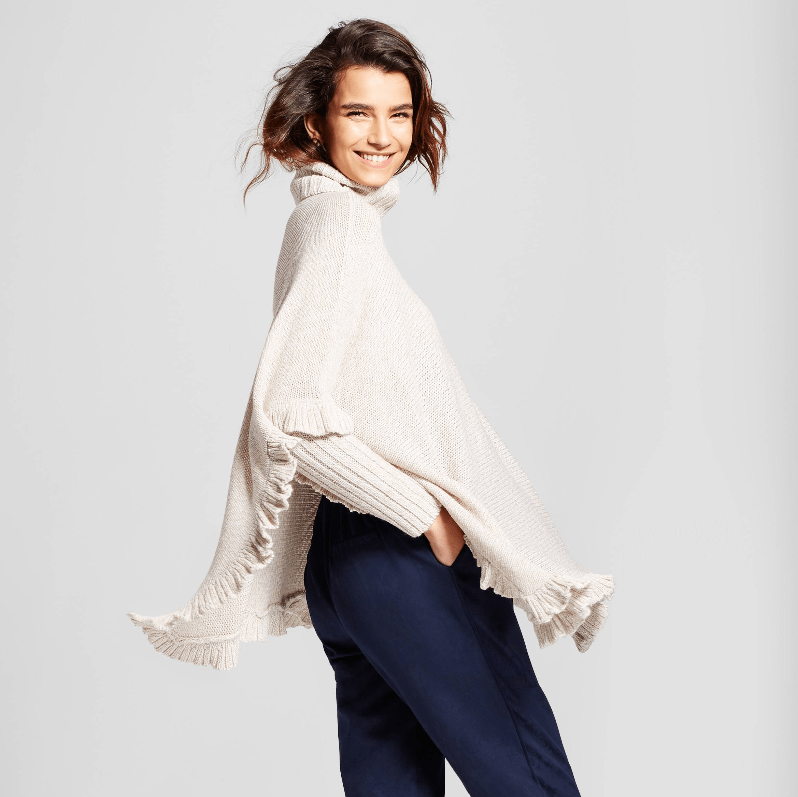 ruffle poncho sweater